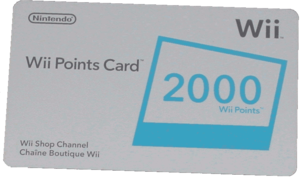 Nintendo Wii points card